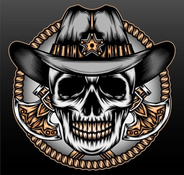 Vintage skeleton cowboy isolated on black
