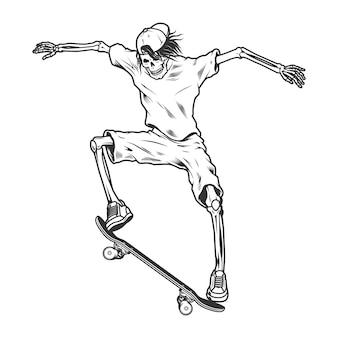 Скелет скейтбордист