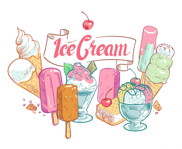 Vintage sketch fruit ice cream  summertime poster