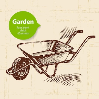 빈티지 스케치 정원 배경입니다. 손으로 그린 디자인