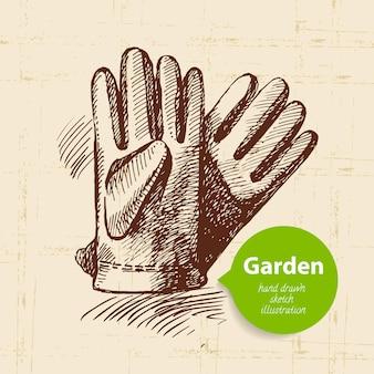 Урожай эскиз фон сада. рисованный дизайн