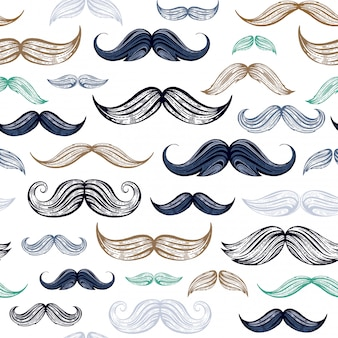 Vintage sketch moustaches seamless pattern.