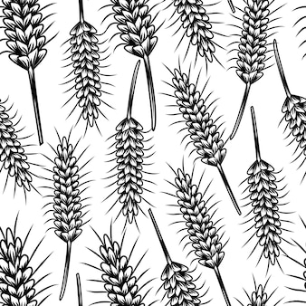 Vintage sketch with wheat seamless pattern.