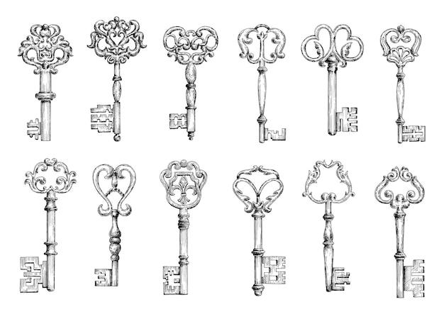 장식 요소가있는 단조 꽃 모티브로 장식 된 중세 도어 키의 빈티지 스케치. 장식, 장식, 보안 또는 안전 테마 디자인