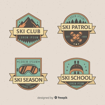 Vintage ski badge collection