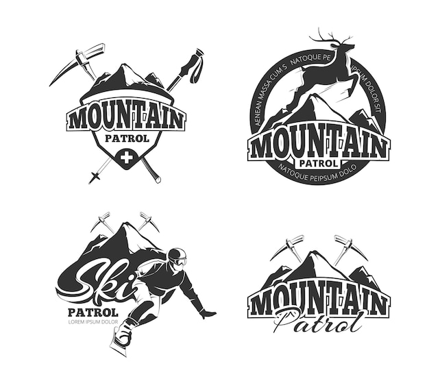 Vintage ski mountain patrol emblems, labels, badges, logos set.