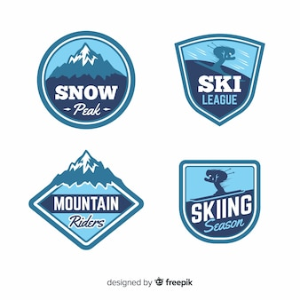 Vintage ski and snow badge collection