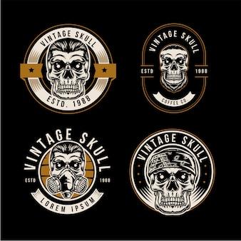 A vintage skull badge logo