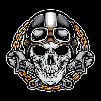 Vintage skull biker