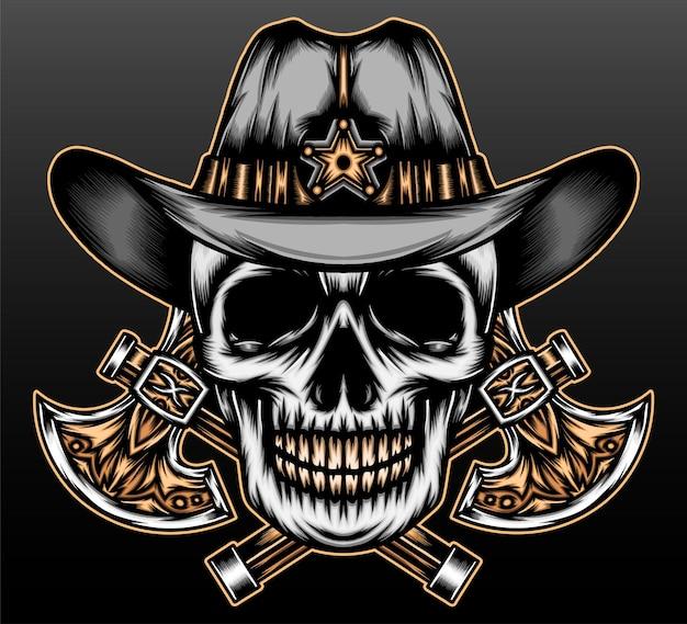 Vintage skull cowboy isolated on black