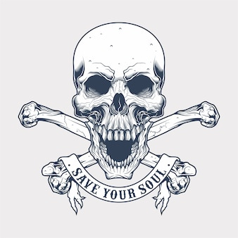 Vintage skull and crossbones with banner