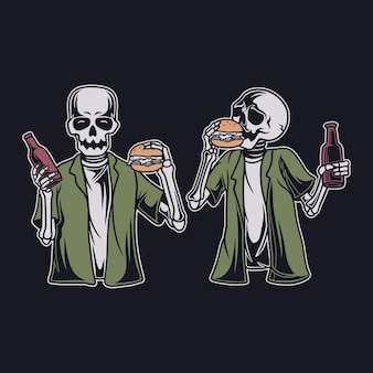ハンバーガーを食べて、飲み物のイラストを保持しているヴィンテージの頭蓋骨