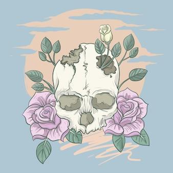 Vintage skull flower classic illustration