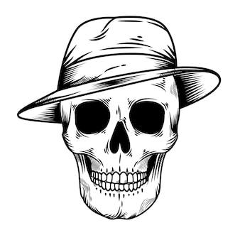 마피아 모자와 빈티지 해골 머리 그림