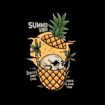 Vintage skull head inside the pineapple illustration