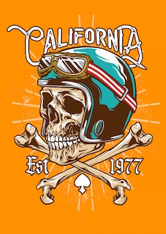 Vintage skull helmet and cross bones emblem