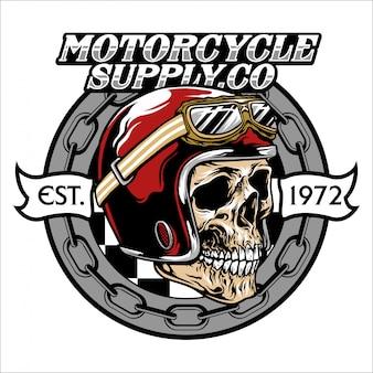 Vintage skull helmet emblem