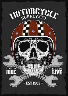 Vintage skull helmet emblem,