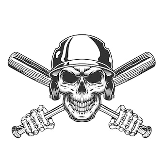 야구 헬멧에 빈티지 해골