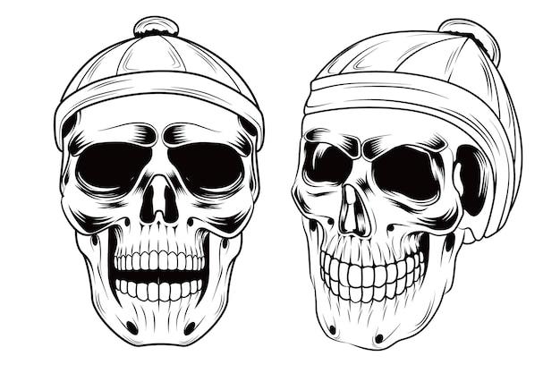Vintage skull music hand drawing vector