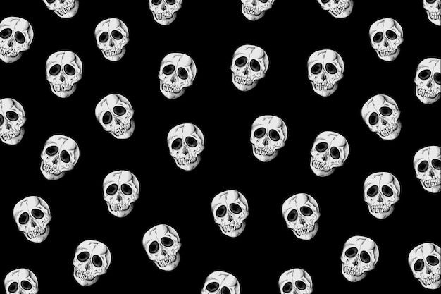 Винтаж череп узор черный фон