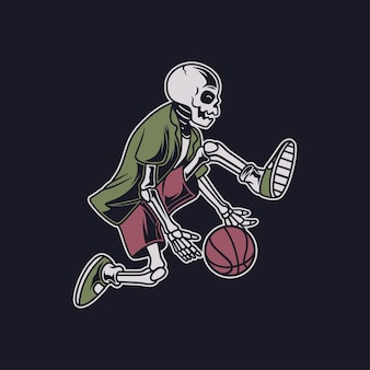 Vintage   skull performs the skill by rotating the ball under his feet, basket illustration