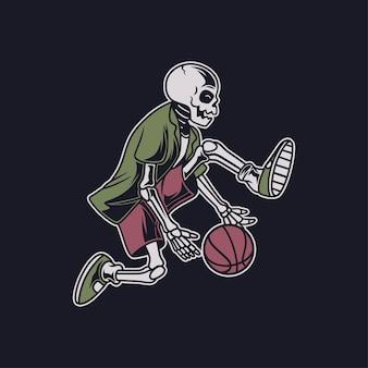 Винтажный череп выполняет это умение, вращая мяч под ногами, иллюстрация корзины