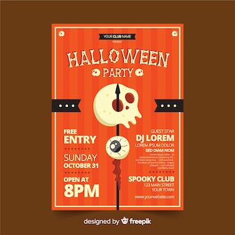 Vintage skull poster for halloween party