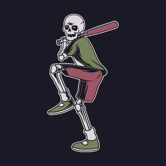 ヴィンテージの頭蓋骨がボール、野球のイラストを受け取る準備をします