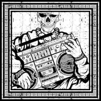 Vintage skull rapper carries a boombox hand drawing