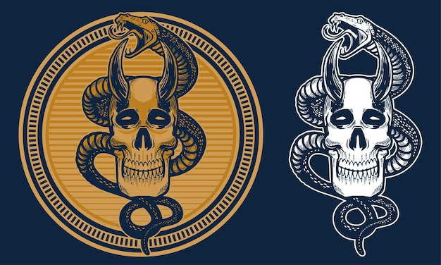 Vintage skull and snake in circle line background illustration