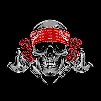 Vintage skull tattoo and flower vector illustration