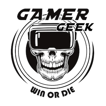 Vintage skull in virtual reality glasses vector illustration. black dead head of gamer in vr