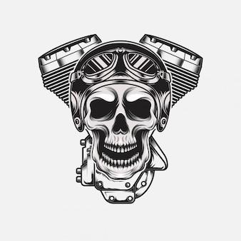 Vintage skull wearing helm with motorcycle machine