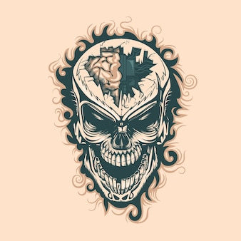Vintage skull with electronics in mind