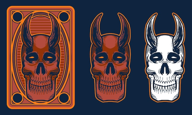 ホーンイラストとヴィンテージの頭蓋骨