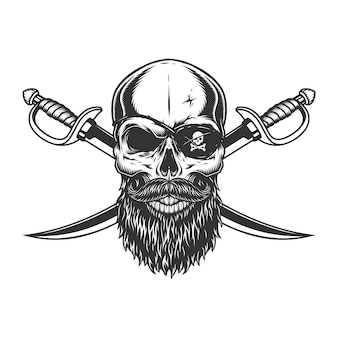Винтажный череп с пиратской повязкой на глазу
