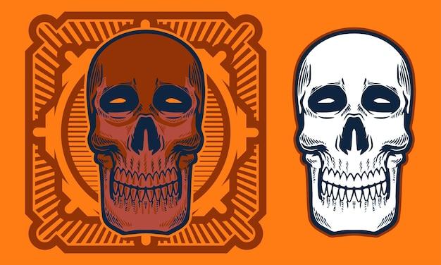 Vintage skull with symmetrical line background illustration