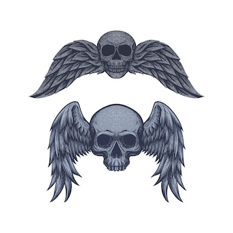 Vintage skull with wing free vector