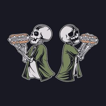 ホットドッグのイラストを食べるヴィンテージの頭蓋骨