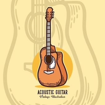 빈티지 슬로건 타이포그래피 어쿠스틱 기타