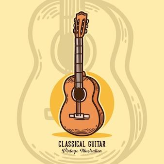 Винтажный слоган типографии классическая гитара