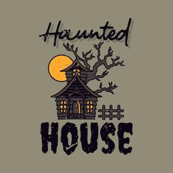 Винтажный лозунг типографии дом с привидениями