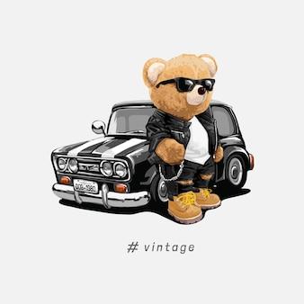 Старинный слоган с куклой медведь в солнцезащитных очках с черным ретроавтомобилем