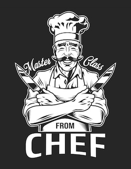 Vintage smiling chef type