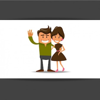 Vintage smiling couple Free Vector