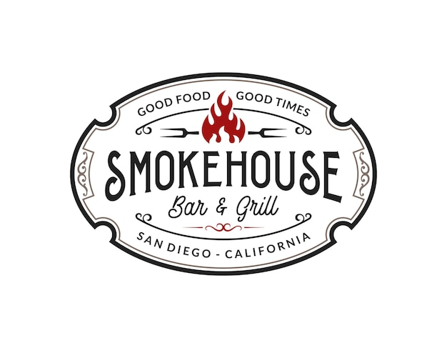 Vintage smokehouse bbq barbecue barbeque bar and grill logo design with fork and fire