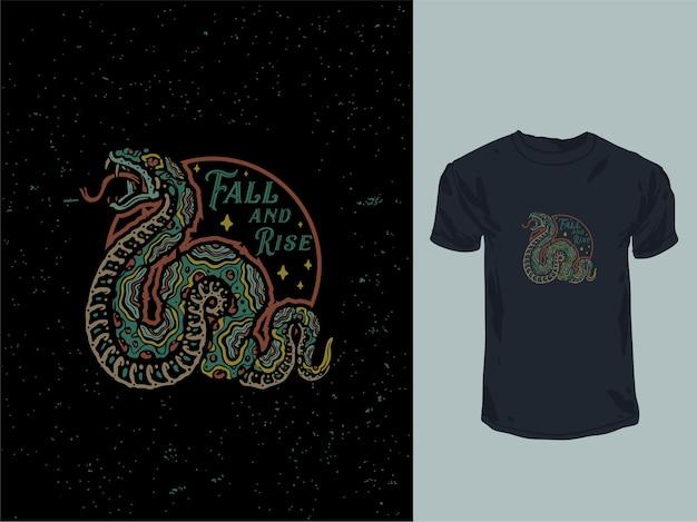 ヴィンテージスネークオールドスタンプtシャツデザインイラスト