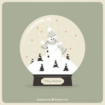 Vintage snowball background with snowman