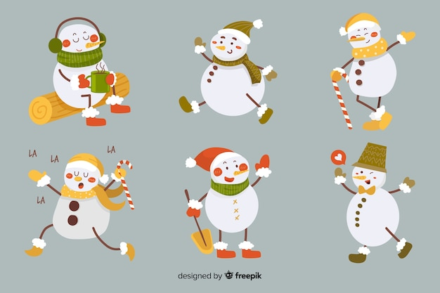 Vintage snowman character collection